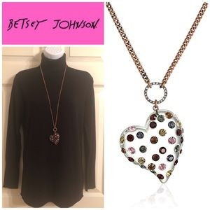 Betsey Johnson Lucite Heart Pendant Necklace